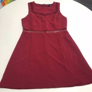 Express Burgundy Lace Fit & Flare Dress sz 12